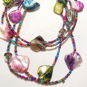 Multi strand faux mother of pearl necklace